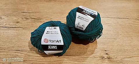 Galantéria - Yarn Art - Jeans (63 smaragdovo zelená) - 13617084_