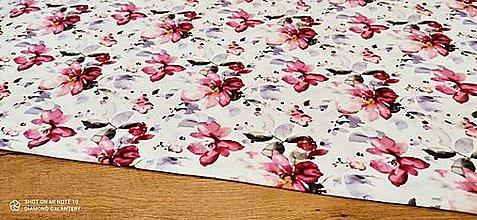 Textil - Teplákovina - cena za 10 centimetrov (Kvety) - 13619672_