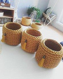 Košíky - Košíček kvetináč horcicovy - 13617057_