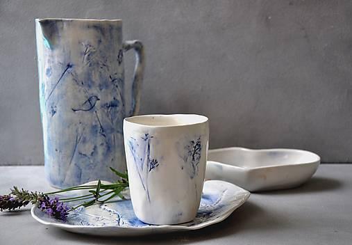 Šálka, pohár, hrnček, modro-biely príroda