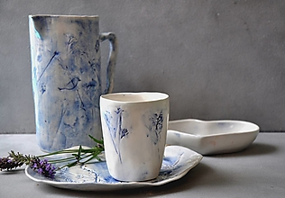 Nádoby - Šálka, pohár, hrnček, modro-biely príroda - 13618233_