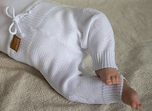Detské oblečenie - Baby nohavice Macko, biele - 13620408_
