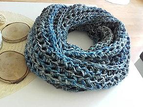 Šály - BLUE WINTER...háčkovaný nákrčník - 13621682_