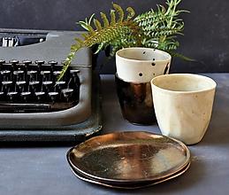 Nádoby - Dezertný tanier v  kovovej , bronzovej farbe - 13621031_