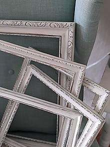 Rámiky - Sada bielych rámov s patinou - 13621824_