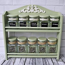 Nádoby - Polička s dózičkami (vintage zelená) - 13622690_