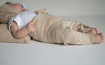 Detské oblečenie - Baby nohavice Macko, hnedý melír - 13622904_