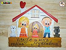 Tabuľky - Menovka - rodinka a domček - 13623234_