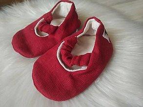 Detské topánky - Balerínky ľanové červené novorodenecké - 13623886_