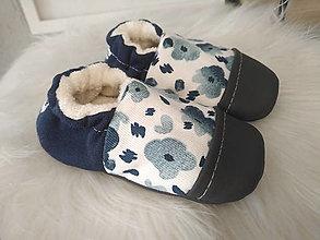 Detské topánky - Capačky modré kvietky 3-6 mesiacov - 13625067_