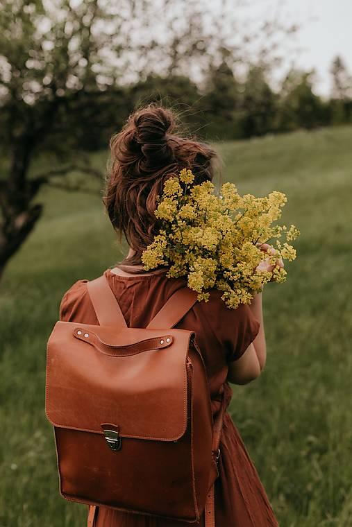 Batohy - Kožený batoh K B2 - barva oranžová - 13623844_