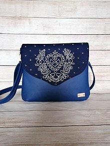 Kabelky - Modrotlačová kabelka Petra XL modrá AM - 13623469_