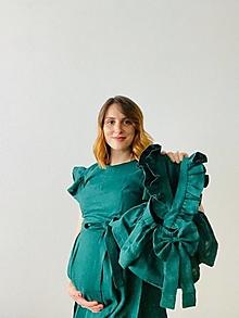 Šaty - Ľanové šaty s volánovými rukávmi a s opaskom - Sýkorka - 13624856_