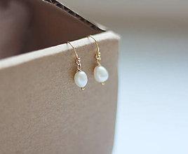 Náušnice - Zlaté svadobné náušnice s perlami - 13626392_
