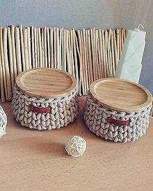 Košíky - Košík svetlý karamel s bambusovym krytom - 13625595_