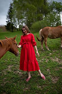 Šaty - Ľanové šaty s volánom-CARMEN - 13625800_
