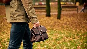 Iné tašky - Hnedá kožená taška. - 13626490_