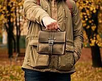 Iné tašky - Khaki kožená taška - 13626507_