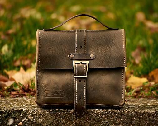 Khaki kožená taška