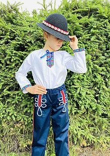Detské oblečenie - Ľudový chlapčenský kroj tmavomodrý - 13625491_