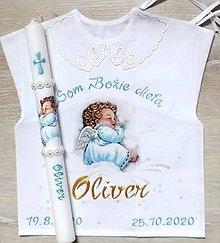 Detské oblečenie - Košieľka na krst + sviečka EXPRES - 13627663_