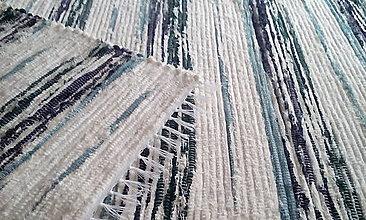 Úžitkový textil - Koberček s tyrkysovými pruhmi - 13628158_
