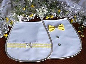Iné doplnky - Svadobné podbradníky ,žlto sivé - 13628210_