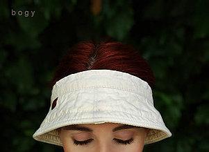 Čiapky - letní plátěný vázací kloboukový kšilt, pískový - 13628876_