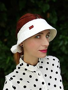 Čiapky - letní plátěný vázací kloboukový kšilt, bílý - 13628923_