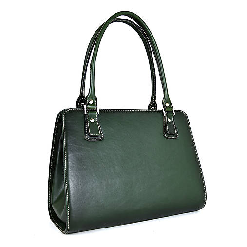 Kabelky - Kožená kabelka ručne tieňovaná v tmavo zelenej farbe - 13631517_