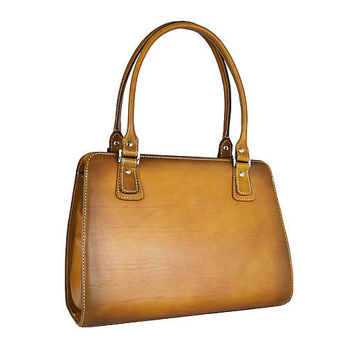 Kabelky - Kožená kabelka ručne tieňovaná v tmavo žltej farbe - 13631636_