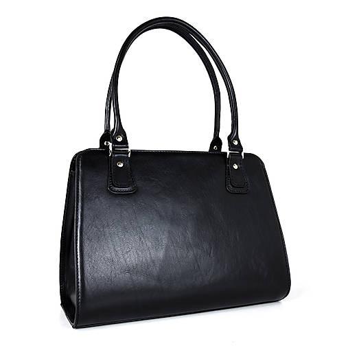 Kabelky - Kožená kabelka v čiernej farbe - 13631692_