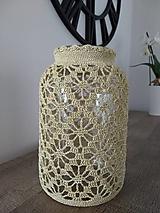 Svietidlá a sviečky - Háčkovaný svietnik XL (Háčkovaná návliečka zlatá bez pohára) - 13631826_