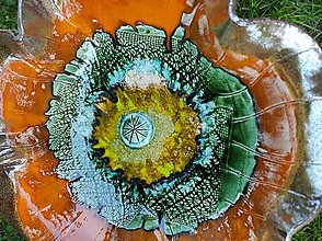 Sochy - Maková fontána (Priemer misy cca 50 cm výška cca 30cm - Oranžová) - 13631324_
