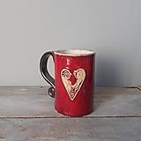 Nádoby - Červený so srdiečkami II - 13633380_