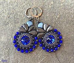 Náušnice - Luxusné modro-hematitové náušnice - 13634136_
