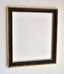 Rámiky - Starožitný rámik - čierny so zlatou - 13635340_