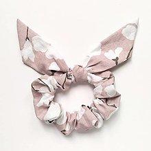 Ozdoby do vlasov - Recy-scrunchie ružovo-biela - 13638461_