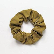 Ozdoby do vlasov - Recy-scrunchie khaki - 13638761_
