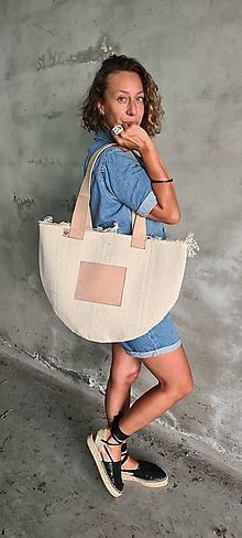 Kabelky - BEACH bag bavlna, koža - 13638821_