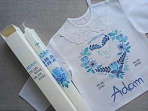 Detské oblečenie - Folk modrý 3D set do krstu - 13642638_