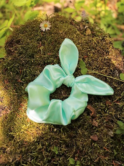 Scrunchies gumička ušatá saténová mint