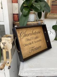"""Nádoby - Tácka """" Chocolaterie """" čierna - 13640545_"""