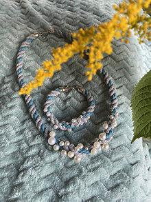 Sady šperkov - Lanový set - šedotyrkysový - 13639997_