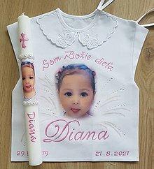 Detské oblečenie - Košielka na krst s fotkou + sviečka - 13642298_