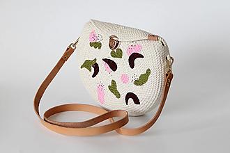Kabelky - Provazová kabelka půlkulatá malovaná - 13643028_