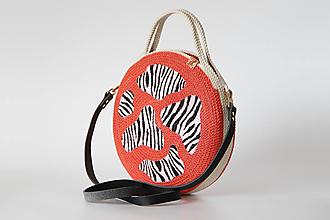 Kabelky - Provazová kabelka kulatá zebra - 13643031_