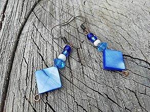 Náušnice - Námornícke Náušničky (modro biele) - 13643282_