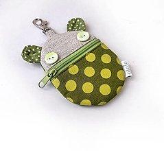 Taštičky - Kapsička na slúchadlá Zvieratko zelené bodkované - 13642922_