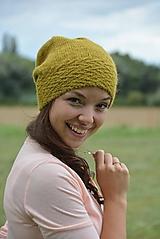 Čiapky, čelenky, klobúky - Čepice alpaka v olivové - 13646580_